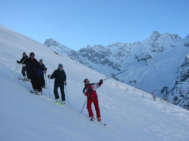 Skiers in La Robella, SUI.