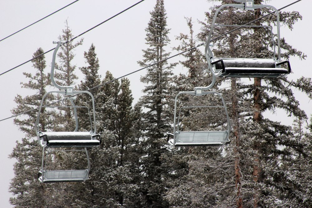 Snow on the lifts at Keystone from Winter Storm Brutus. Photo: Keystone/Facebook