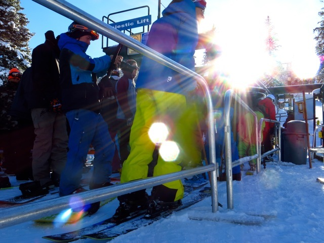 A bluebird day greeted skiers and riders during opening day at Brighton Resort - © Stephanie Nitsch