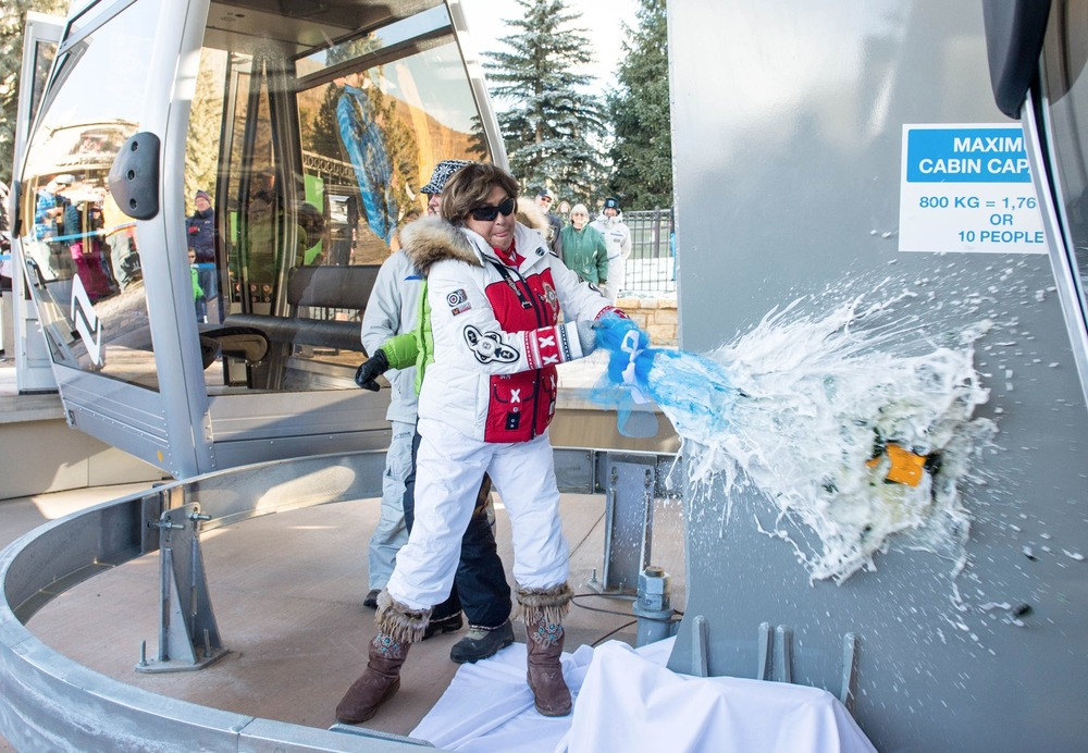 "Vail Mountain kicked off their 50th Anniversary celebration on Friday with the dedication of their new gondola, ""One."" The new gondola was christened with the smashing of a champagne bottle against the center of its lower terminal. - © Jack Affleck"