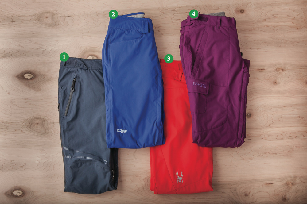 Women's Pants: 1) Oakley Moving Pants; 2) Outdoor Research Paramour Pants; 3) Spyder Circuit Athletic Fit; 4) Dakine Gem Pant - © Julia Vandenoever