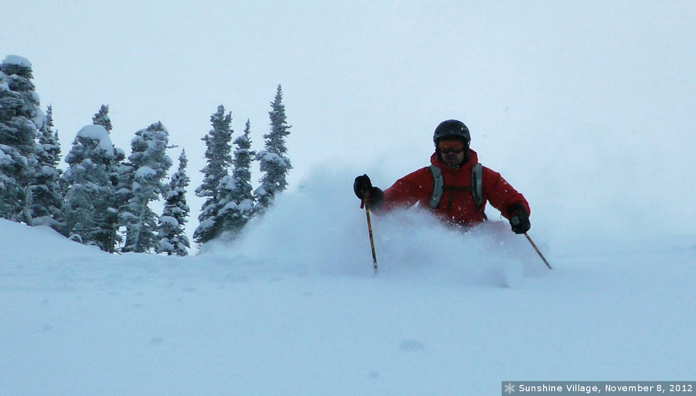 Sinking into powder at Sunshine. Photo courtesy of Ski Big 3.
