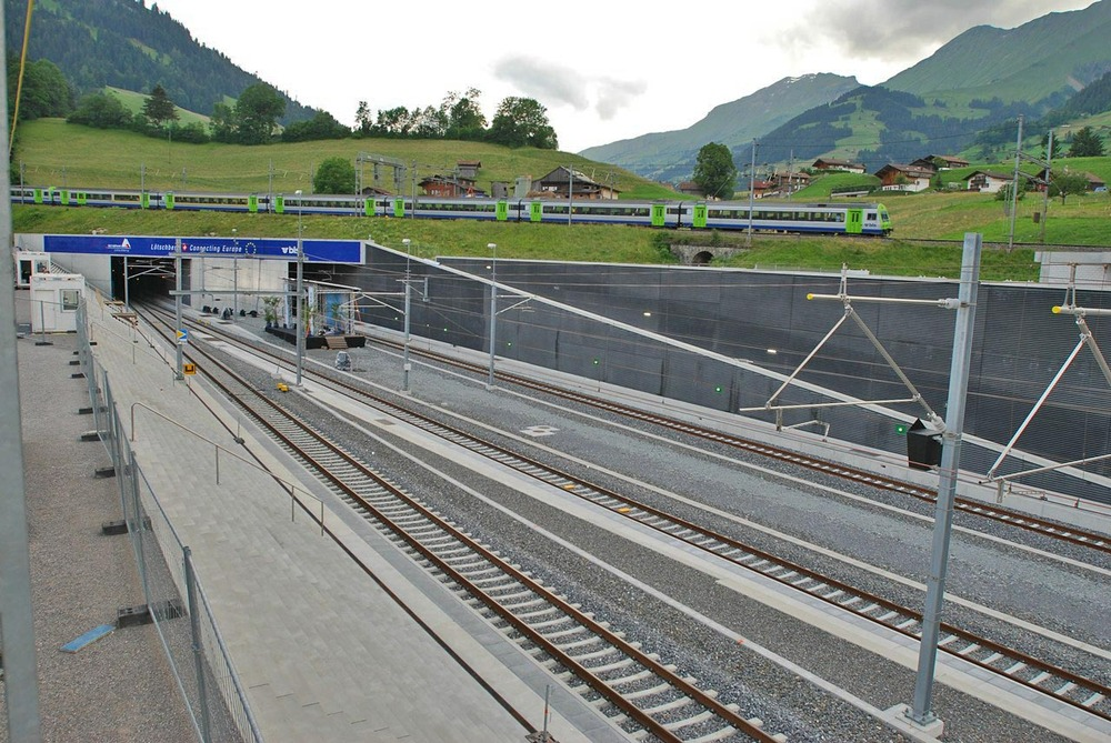 "The northern terminal of the Lötschberg Base Tunnel, near Frutigen. Accompanies story ""Tunnel Will Bring Swiss Resorts Closer."""