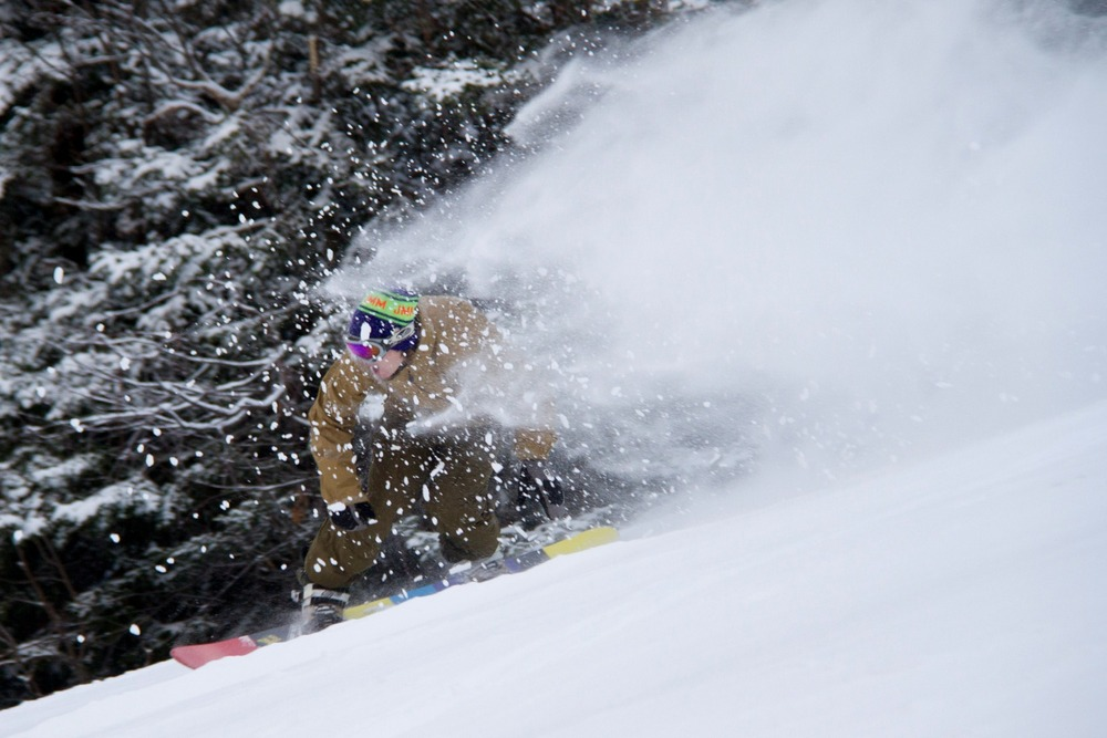 Skiers and riders came out in droves up at Stowe, too. - © Brian Mohr / EmberPhoto