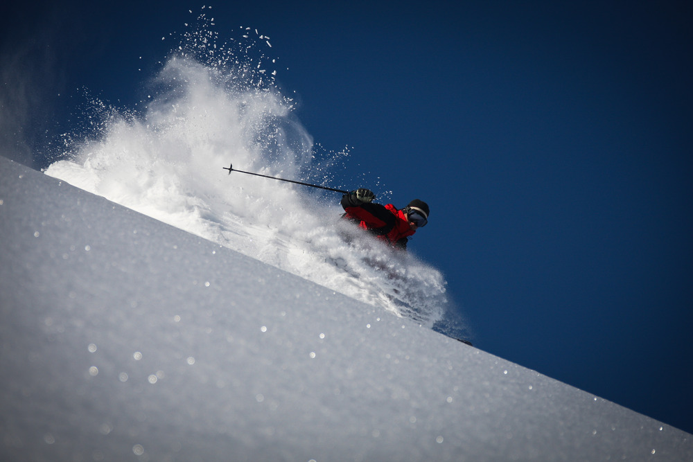 Rooster tails are common with Tyax Lodge Heli-Skiing. - © Randy Lincks/Andrew Doran