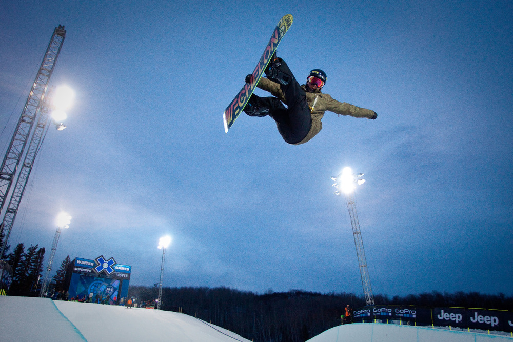 Snowboard Superpipe Practice. 22 foot walls and almost 20 feet of air out of the pipe. - ©Jeremy Swanson