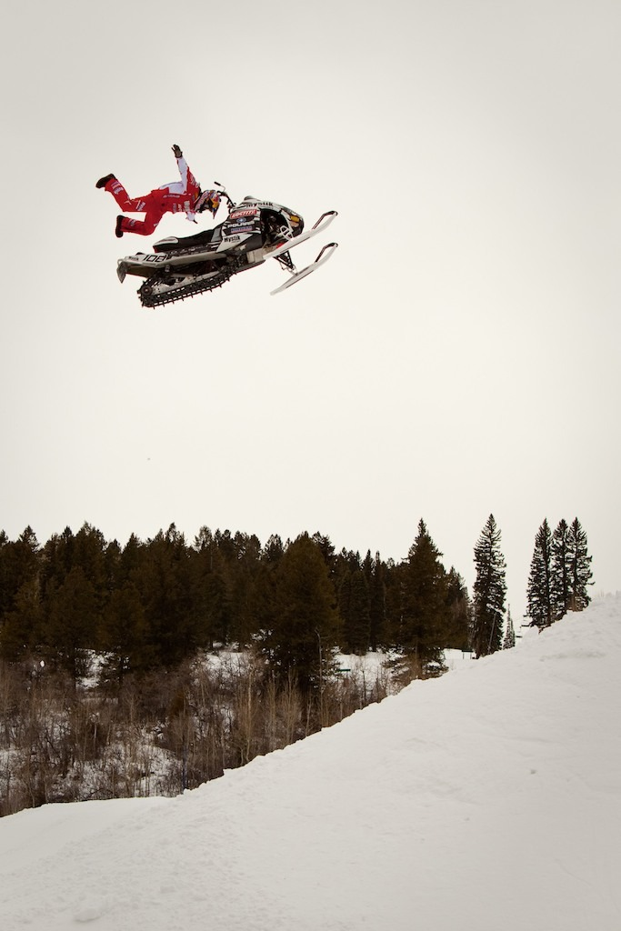 Levi LaVallee at the afternoon practice session for Snowmobile Freestyle.  - © Jeremy Swanson