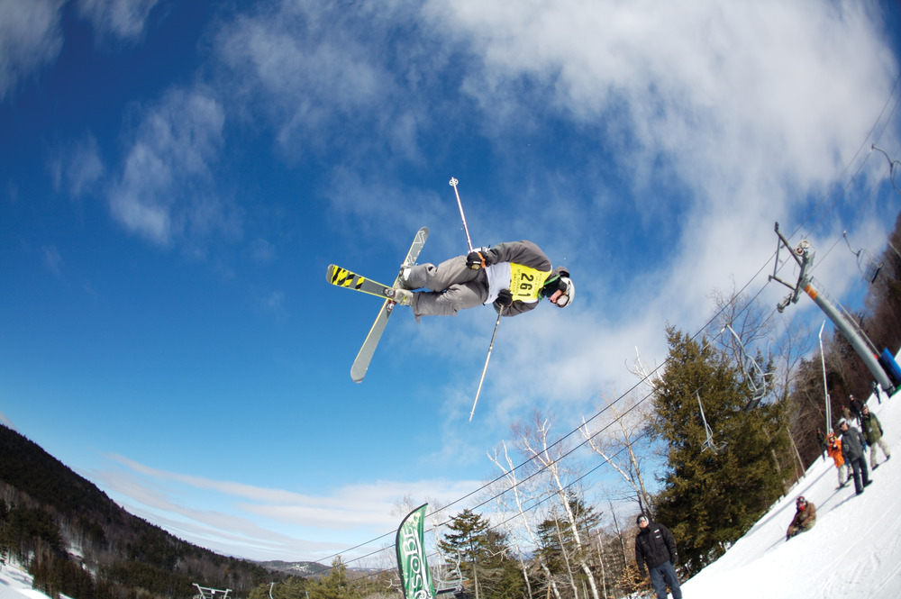 A skier at Mount Sunapee gets big air.
