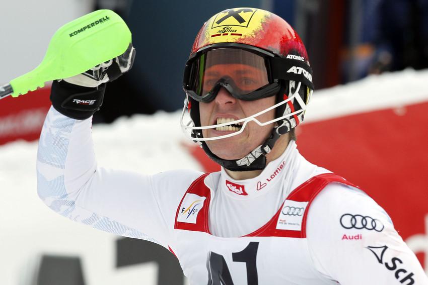 Ein Siegesschrei, das Adrenalin muss raus! Marcel Hirscher ist ein Traumlauf gelungen. - © Christophe Pallot/AGENCE ZOOM