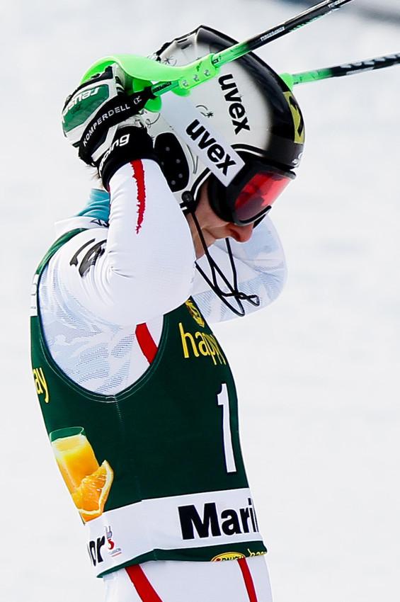 Kathrin Zettel jubelt: Sie steht im Slalom von Maribor als Dritte auf dem Podest - © Stanko GRUDEN/AGENCE ZOOM