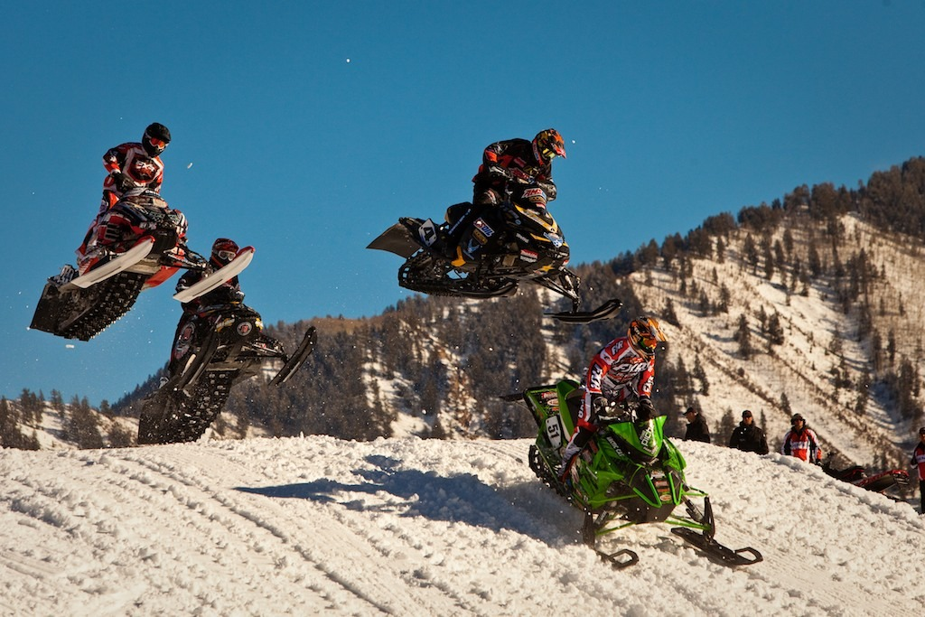 Snocross features up to 15 riders racing for 8 laps over courses of rollers, jumps and berms. - © Jeremy Swanson