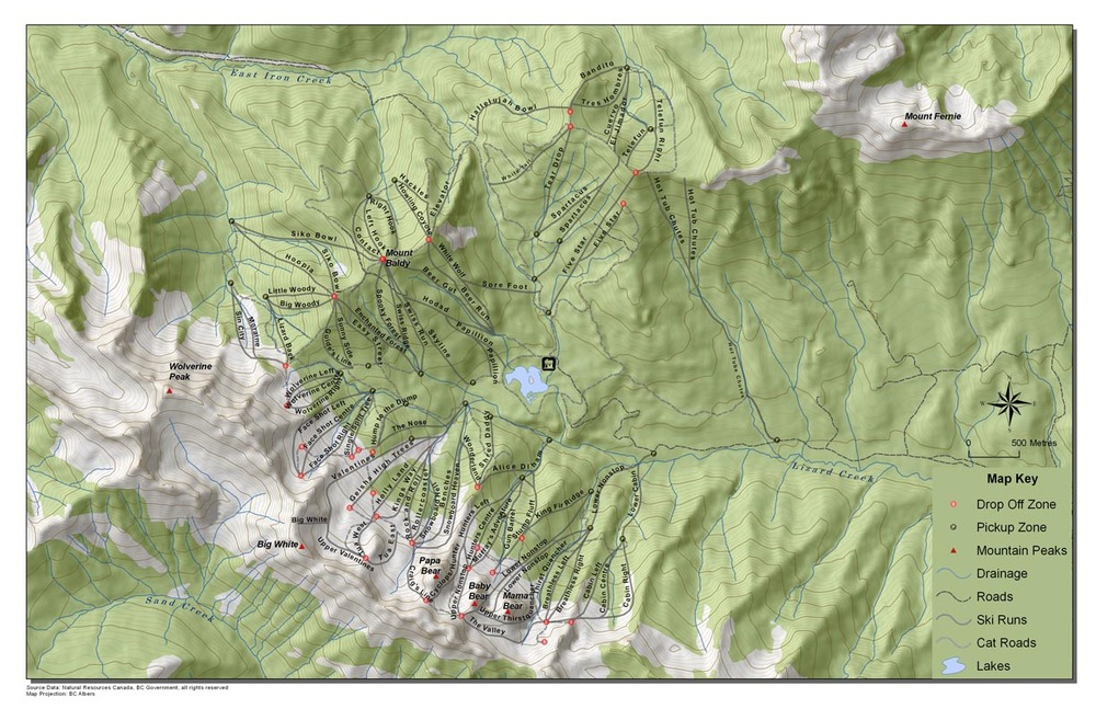 This map shows off Island Lake Catskiing's vast terrain - © Island Lake Catskiing