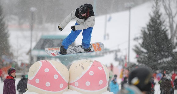 Boarding for Breast Cancer (B4BC) makes a visit at Taos Ski Valley on Breast Cancer Awareness Day, Feb. 23