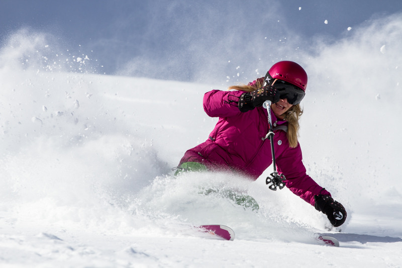 While testing powder skis, testers also got to try Anon's new M2 goggles. Skier Susan Minneci