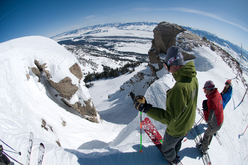 At the top of Corbets Couloir, Jackson Hole - © Tristan Greszko/Jackson Hole Mountain Resort