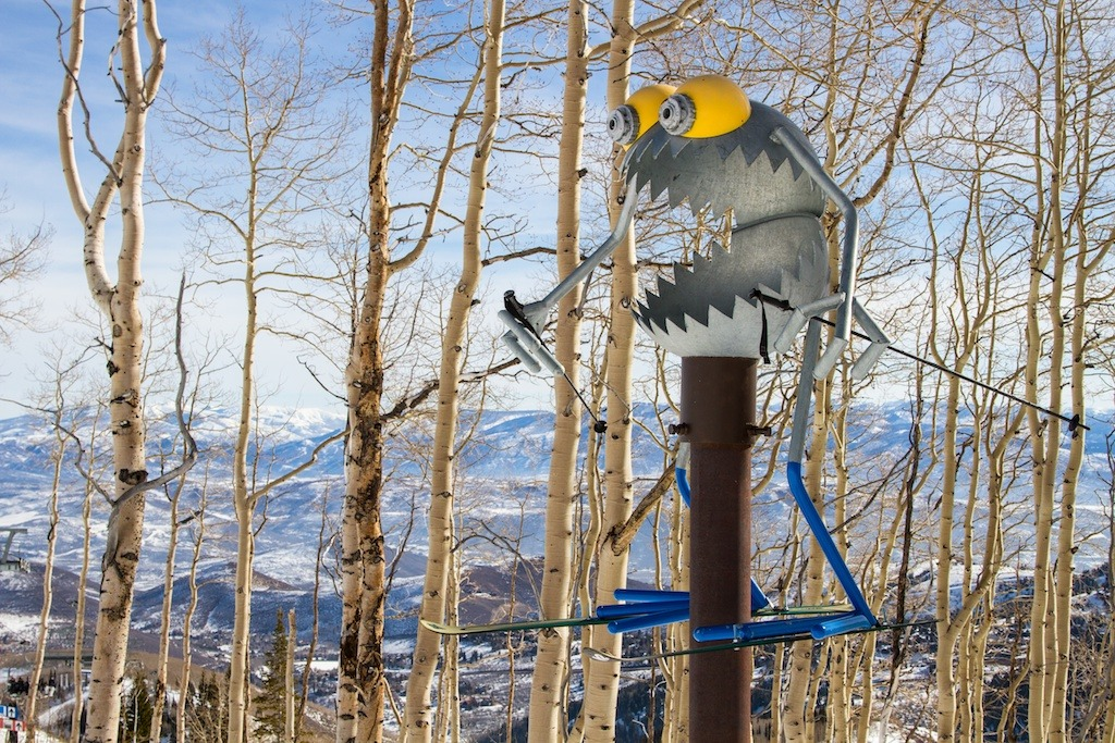 There are five marked Adventure Alley's across Park City Mountain Resort that are marked with Snowbugs. The areas are perfect for kids and families to ski trees and wide groomers.  - © Liam Doran