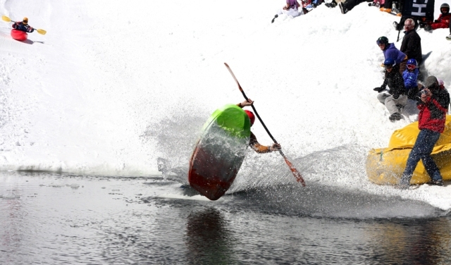 Kayakers and skiers shred for the love of spring at Monarch Mountain's annual Boater Cross event.