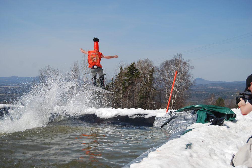 Pond skim to air. NEK skiers don't mess around. Photo Courtesy of Burke Mountain Resort.