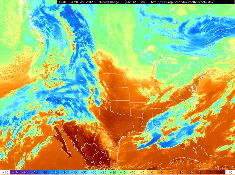 Infrared satellite images detect clouds based on temperatures. In this image, blue areas show colder clouds, which means they are higher in the sky. Red colors show warmer areas, which often means the satellite is sensing the warmer ground with no clouds overhead.