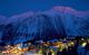 Courchevel village lit up at night