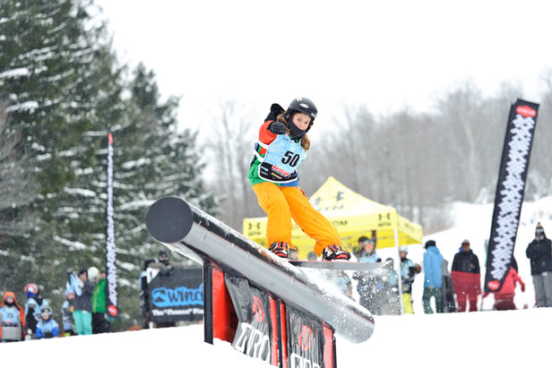 Rider hitting a feature at the USASA Rail Jam - ©Part of the USASA Southern Vermont Snowboard and Freeski Series