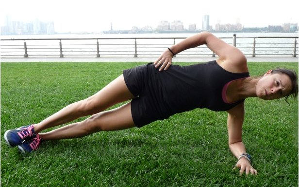 6. Side plank: laying on one side, raise your body up, resting on one elbow and with your feet stacked. Maintain a straight body position. Hold for at least 30 seconds working up to a minute or more. Side planks strengthen the obliques and back.  - © Danielle Shapiro