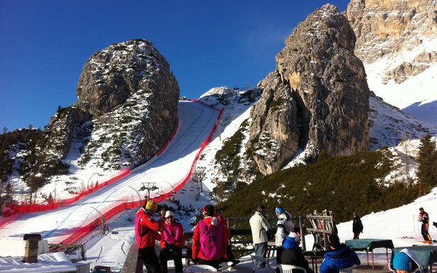 The best place to view the Cortina World Cup is from the Rifugio Duca D'Aosta.