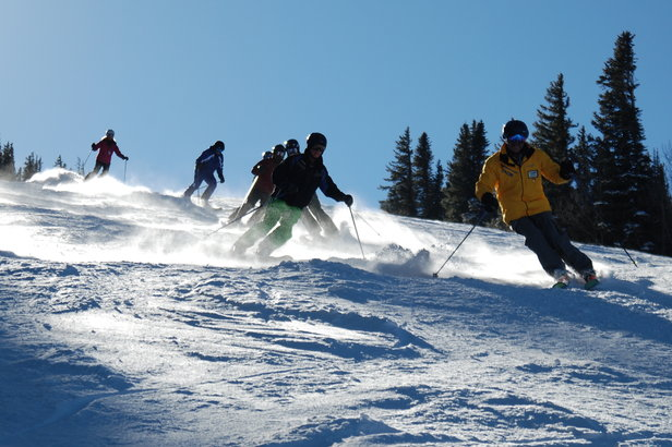 Skiers tackle moguls in one of Taos Ski Valley's camps.