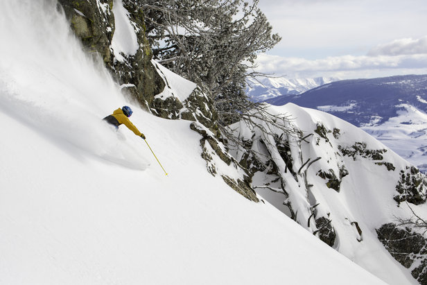 Sinking into powder near the Crags in terrain accessible from Jackson Hole's new Teton Lift.