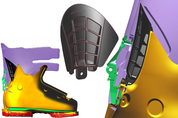 When working with race models, boot techs realized that a V shape in the cuff increases range of motion.  - © Lange