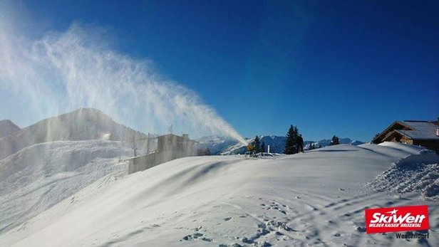 Auch die SkiWelt Wilder Kaiser Brixental hat bereits eine gute Grundlage und beschneite diese Woche kräftig