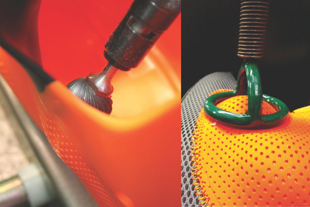 Left: The C.A.S. shell allows boot fitters to grind problem areas or easily punch and heat the shell to increase volume. Right: Tecnica's C.A.S. liner, or Custom Adaptive Shape, can be heated and punched by a boot fitter to address hot spots.   - © Tecnica