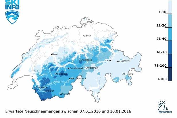 Schneebericht für die Schweiz (07.01.): Aktuelle Schneelage, Schneevorhersage, Lawinenbulletin ©Skiinfo / Meteotest