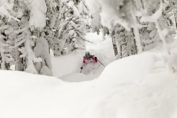 Sinking into the powder at Grand Targhee Resort.