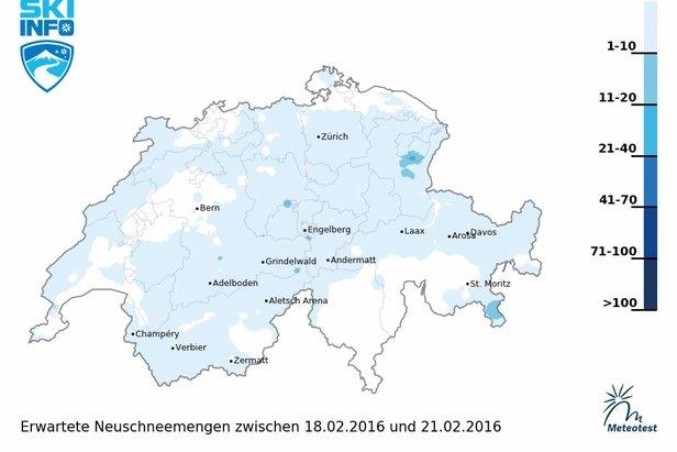 Schneebericht für die Schweiz (18.02.): Warmfront am Wochenende, Wochenstart wieder kälter ©Skiinfo | Meteotest