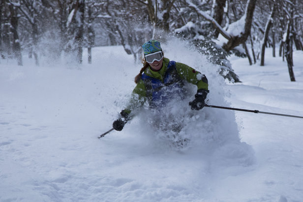 Kricket McCusker skis Braintree Forest backcountry area.