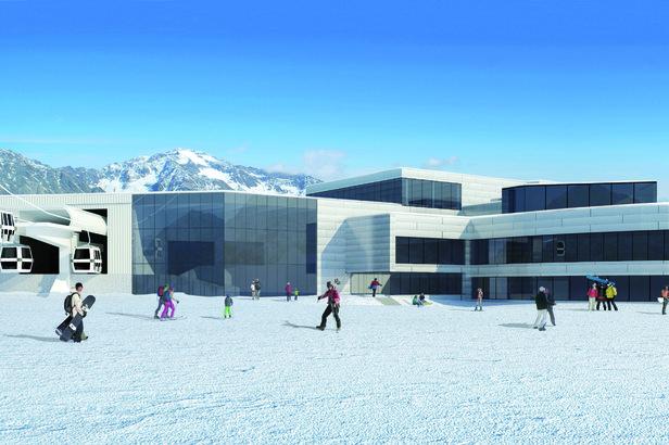 Im Oktober Wirklichkeit: Die neue 3S Eisgratbahn am Stubaier Gletscher ©Stubaier Gletscher / ao Architekten