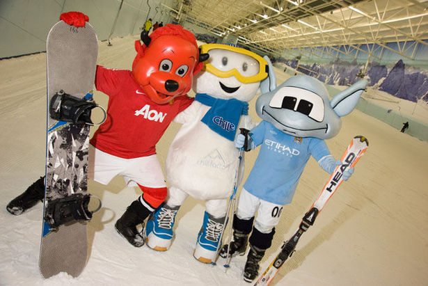 Manchester Soccer Mascots Battle It Out On Indoor Snow