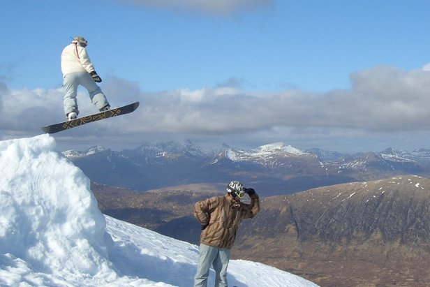 Freestyle boarders at Glencoe, Scotland