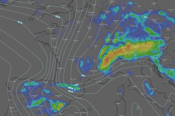#Météo des neiges : situation et prévisions pour les prochains jours ©Capture d'écran windy.com