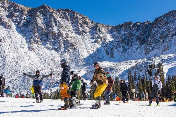 First skiers at A-Basin's opening day last Friday  - © Arapahoe Basin Ski Area/Facebook