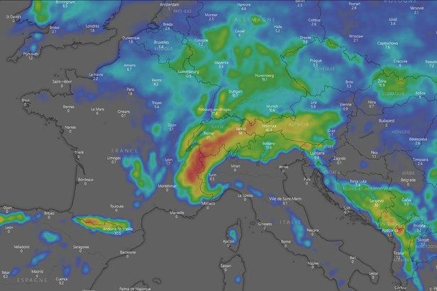 #Météo des neiges : situation et prévisions pour les prochains joursCapture d'écran Windy.com
