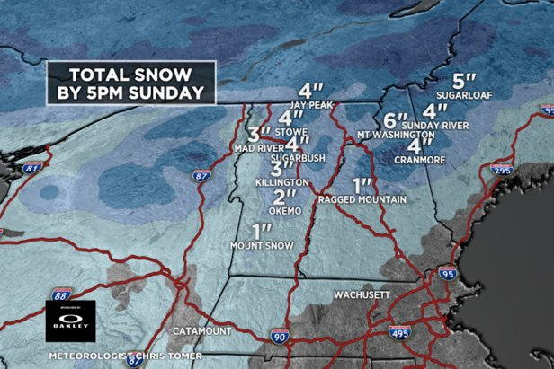 Resorts in New England will see a few inches of snow this week.   - © Meteorologist Chris Tomer