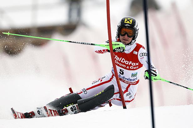 Ski WM 2011: Schild führt nach Durchgang eins im Slalom, Maria Riesch Fünfte- ©Christophe PALLOT/AGENCE ZOOM