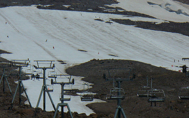 By late summer, skiing is only on the Palmer Snowfield at Timberline Lodge. Photo by Chris Pez/Flickr.