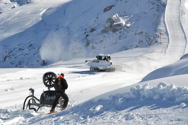 Snow machines in Verbier preparing for Friday's opening. Photo taken Oct. 29.