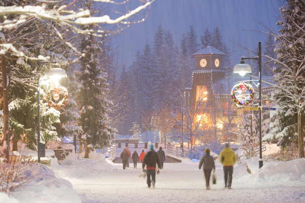 Whistler Village on a snowy evening.