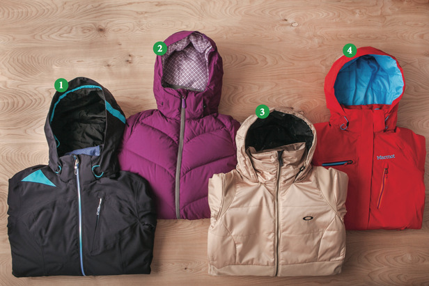 Women's Insulated Jackets: 1) Obermeyer Shasta Jacket; 2) Dakine Kensington Jacket; 3) Oakley GB Insulated Jacket; 4) Marmot Dawn Patrol