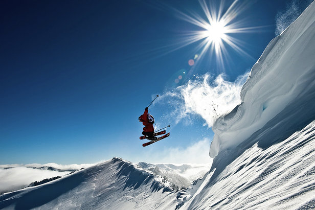 Pro skier Andy Mahre leaps a cornice at White Pass.