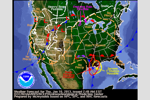 Where's the Snow this Weekend: West Coast Report 1/10/13- ©NOAA